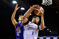 Chris Johnson of the Auckland Huskies and Kenneth Tuffin of the Wellington Saints during the NBL match between the Wellington Saints and the Auckland Huskies at TSB Bank Arena, Wellington, New Zealand on Friday 28 May 2021.<br /> Photo by Masanori Udagawa. <br /> www.photowellington.photoshelter.com