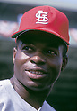 St. Louis Cardinals Lou Brock (20) portrait from the 1967 season. Lou Brock played for 19 years and was inducted to the Baseball Hall of Fame in 1985.