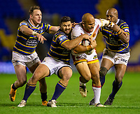 13th November 2020; The Halliwell Jones Stadium, Warrington, Cheshire, England; Betfred Rugby League Playoffs, Catalan Dragons versus Leeds Rhinos; Sam Moa of Catalans Dragons is tackled