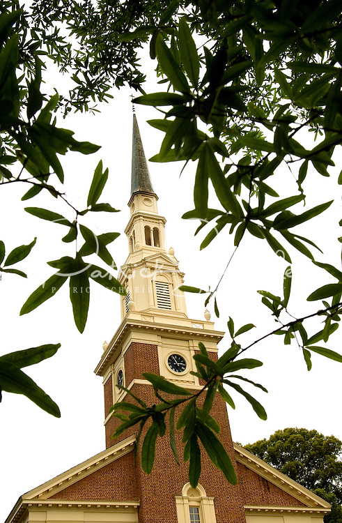 A church in the Myers Park neighborhood in Charlotte, NC. Myers Park is one of the premier neighborhoods in North America and known for its large canopy of trees.