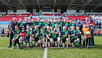 Saturday 13th April 2019 | Ballynahinch 4 vs Banbridge 3<br /> <br /> Aaron Samuel and Chris Gibson with the Crawford Cup celebrate with the team after the Hinch defeated Banbridge  in the Crawford Cup final at Kingspan Stadium, Ravenhill Park, Belfast, Northern Ireland.  Photo by John Dickson / DICKSONDIGITAL
