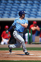 Charlotte Stone Crabs second baseman Riley Unroe (7) at bat during a game against the Clearwater Threshers on April 13, 2016 at Bright House Field in Clearwater, Florida.  Charlotte defeated Clearwater 1-0.  (Mike Janes/Four Seam Images)