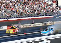 Feb 8, 2015; Pomona, CA, USA; NHRA funny car driver Bob Bode (left) alongside John Force during the Winternationals at Auto Club Raceway at Pomona. Mandatory Credit: Mark J. Rebilas-