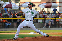 Blake Holovach #39 of the Clinton LumberKings  pitches against the South Bend Silver Hawks at Ashford University Field on July 26, 2014 in Clinton, Iowa. The Sliver Hawks won 2-0.   (Dennis Hubbard/Four Seam Images)