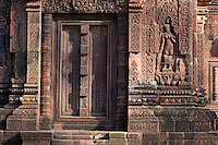 Hindu temple door with Apsara (celestial maiden) at Banteay Srei, 10th century Khmer architecture at Angkor Wat -  Siem Reap, Cambodia...
