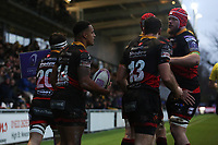 Ashton Hewitt of Dragons celebrates scoring his sides third try of the match during the European Challenge Cup match between Dragons and Bordeaux Begles at Rodney Parade, Newport, Wales, UK. 20 January 2018