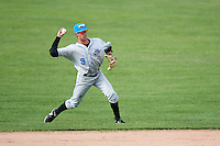 Hudson Valley Renegades second baseman Miles Mastrobuoni (9) throws to first during a game against the Batavia Muckdogs on July 31, 2016 at Dwyer Stadium in Batavia, New York.  Hudson Valley defeated Batavia 4-1.  (Mike Janes/Four Seam Images)