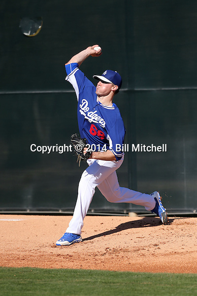 Ross Stripling of the Los Angeles Dodgers participates in spring training workouts at Camelback Ranch on February 11, 2014 in Glendale, Arizona (Bill Mitchell)