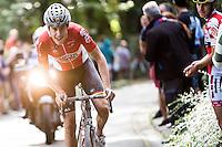 race leader Jelle Wallays (BEL/Lotto-Soudal) leading the race<br /> <br /> 1st Dwars door het Hageland 2016<br /> (pics by Léon Van Bon)