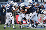 Nevada tight end Jarred Gipson (47) celebrates with his team after scoring the overtime game winning touchdown against San Jose State at an NCAA college football game in Reno, Nev., on Saturday, Nov. 14, 2015. (AP Photo/Cathleen Allison)