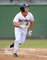 Outfielder J.P. Ramirez (9) of the Potomac Nationals, Carolina League affiliate of the Washington Nationals, in a game against the Salem Red Sox on June 16, 2011, at Pfitzner Stadium in Woodbridge, Va. Photo by Tom Priddy / Four Seam Images
