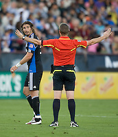Alan Gordon of Earthquakes argues with Referee Mark Kadlecik about a bad call during the game against the DC United at Buck Shaw Stadium in Santa Clara, California on July 30th, 2011.   DC United defeated San Jose Earthquakes, 2-0.