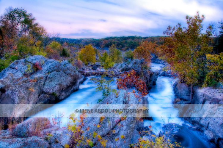 High dynamic range (HDR) image of Great Falls Park, Maryland in autumn