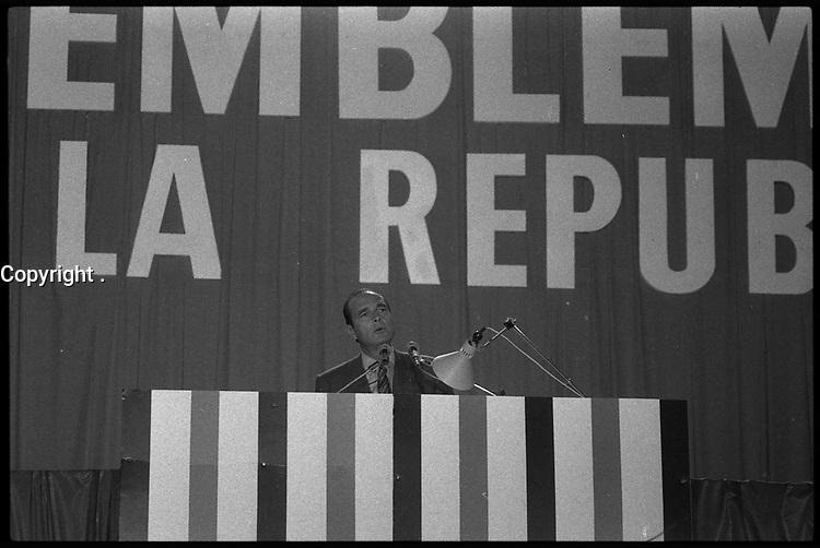 24 Janvier 1982. Vue du meeting de Jacques Chirac lors des assisies du RPR à Toulouse.