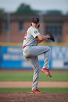 Johnson City Cardinals relief pitcher Evan Sisk (22) delivers a pitch during the first game of a doubleheader against the Princeton Rays on August 17, 2018 at Hunnicutt Field in Princeton, Virginia.  Johnson City defeated Princeton 6-4.  (Mike Janes/Four Seam Images)