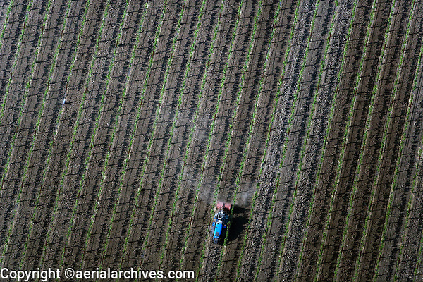 aerial photograph of a tractor  working a Napa County vineyard