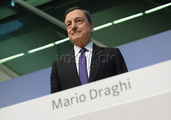 26 April 2018, Germany, Frankfurt: President of the European Central Bank (ECB), Mario Draghi, before the ECB press conference. Europe's top currency guardians have left the central interest rates in the eurozone at a record low of yero percent after their session. Photo: Arne Dedert/dpa