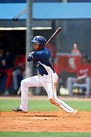 GCL Rays second baseman Jonathan Aranda (10) follows through on a swing during the first game of a doubleheader against the GCL Twins on July 18, 2017 at Charlotte Sports Park in Port Charlotte, Florida.  GCL Twins defeated the GCL Rays 11-5 in a continuation of a game that was suspended on July 17th at CenturyLink Sports Complex in Fort Myers, Florida due to inclement weather.  (Mike Janes/Four Seam Images)