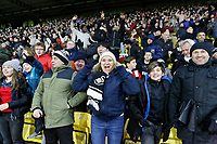 Swansea supporters celebrate their team's win during the Premier League match between Watford and Swansea City at the Vicarage Road, Watford, England, UK. Saturday 30 December 2017