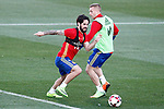 Spain's Isco Alarcon (l) and Gerard Deulofeu during training session. March 20,2017.(ALTERPHOTOS/Acero)