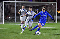 forward Gwen Duijsters (13) of KRC Genk and Debbie Decoene (21) of Club Brugge pictured during a female soccer game between  Racing Genk Ladies and Club Brugge YLA on the 10 th matchday of the 2020 - 2021 season of Belgian Scooore Womens Super League , friday 18 th of December 2020  in Genk , Belgium . PHOTO SPORTPIX.BE | SPP | STIJN AUDOOREN