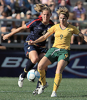 Cat Whitehill, Sarah Walsh. The USA defeated Australia, 5-4, in an international friendly at Legion Field in Birmingham, Alabama on May 3, 2008.