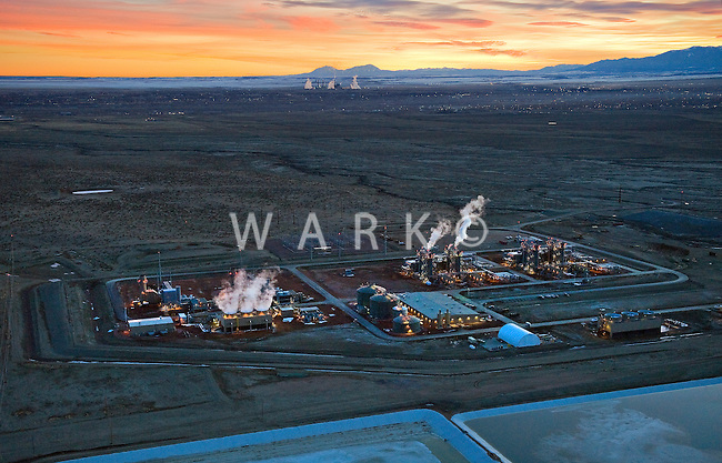 Evening and night views of natural gas fired electric generation plant, Pueblo, Colorado.  Black Hills Energy