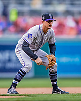 15 April 2018: Colorado Rockies infielder Ryan McMahon in action against the Washington Nationals at Nationals Park in Washington, DC. All MLB players wore Number 42 to commemorate the life of Jackie Robinson and to celebrate Black Heritage Day in pro baseball. The Rockies edged out the Nationals 6-5 to take the final game of their 4-game series. Mandatory Credit: Ed Wolfstein Photo *** RAW (NEF) Image File Available ***
