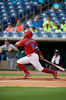 Clearwater Threshers second baseman Drew Stankiewicz (15) follows through on a swing during the first game of a doubleheader against the Lakeland Flying Tigers on June 14, 2017 at Spectrum Field in Clearwater, Florida.  Lakeland defeated Clearwater 5-1.  (Mike Janes/Four Seam Images)
