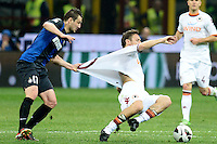 Francesco Totti Roma (R) Zdravko Kuzmanovic Inter .Milano 17/04/2013 Stadio San Siro Giuseppe Meazza .Football Calcio Coppa Italia Semifinale .Inter Roma 2-3 .foto Daniele Buffa/Image Sport/Insidefoto.