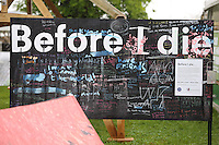 """Friday 23 May 2014, Hay on Wye UK<br /> Pictured: """"Before I Die"""" blackboard.<br /> Re: The Telegraph Hay Festival, Hay on Wye, Powys, Wales UK."""