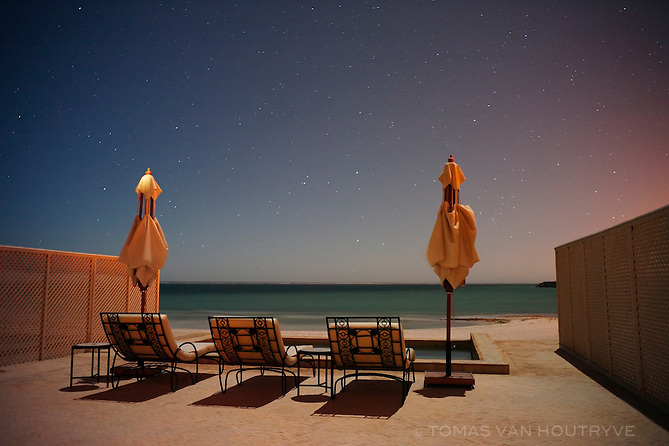 Starts are seen in the night sky above the horizon at the Calipau Sahara hotel in Dakhla, Morocco on Dec. 16, 2011.
