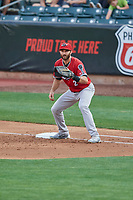 Steve Lombardozzi (2) of the Nashville Sounds on defense against the Salt Lake Bees at Smith's Ballpark on July 27, 2018 in Salt Lake City, Utah. The Bees defeated the Sounds 8-6. (Stephen Smith/Four Seam Images)