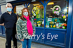 Suzanne Dunne Raggett standing with Kevin Barry outside her shop window display in Kevin Barrys on Rock Street on Thursday.