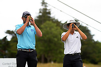 Tae Min Kim (right) and Chas Craig. Day one of the Brian Green Property Group NZ Super 6s Manawatu at Manawatu Golf Club in Palmerston North, New Zealand on Thursday, 25 February 2021. Photo: Dave Lintott / lintottphoto.co.nz