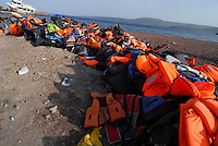 Skala / Lesbos / Greece 06/04/2016<br /> Skala beach, in the north of Lesbos island, closed to the Turkish coast. A life jackets used by refugees in case of shipwreck.<br /> Photo Livio Senigalliesi