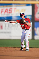 Harrisburg Senators second baseman Dan Gamache (21) throws to first base during a game against the Akron RubberDucks on August 18, 2018 at FNB Field in Harrisburg, Pennsylvania.  Akron defeated Harrisburg 5-1.  (Mike Janes/Four Seam Images)