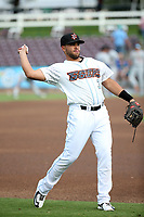 Jose Rojas (3) of the Inland Empire 66ers throws before a game against the Rancho Cucamonga Quakes at San Manuel Stadium on July 9, 2017 in San Bernardino, California. Inland Empire defeated Rancho Cucamonga 12-2. (Larry Goren/Four Seam Images)