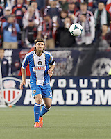 Philadelphia Union defender Jeff Parke (31) clears the ball. In a Major League Soccer (MLS) match, the New England Revolution (blue/red) defeated Philadelphia Union (blue/white), 2-0, at Gillette Stadium on April 27, 2013.