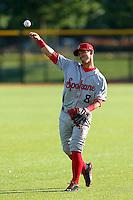 Gabe Roa #8 of the Spokane Indians before a game against the Hillsboro Hops at Hillsboro Ballpark on July 22, 2013 in Hillsboro Oregon. Spokane defeated Hillsboro, 11-3. (Larry Goren/Four Seam Images)