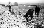 Laxton Jury Day and Court Leet. Laxton, Nottinghamshire. England 1973. Staking out the strips of land. Annually November and first week of December.