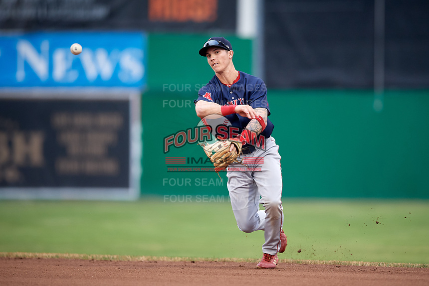 Lowell Spinners second baseman Jarren Duran (44) throws to first base for the out during game against the Batavia Muckdogs on July 14, 2018 at Dwyer Stadium in Batavia, New York.  Lowell defeated Batavia 8-4.  (Mike Janes/Four Seam Images)