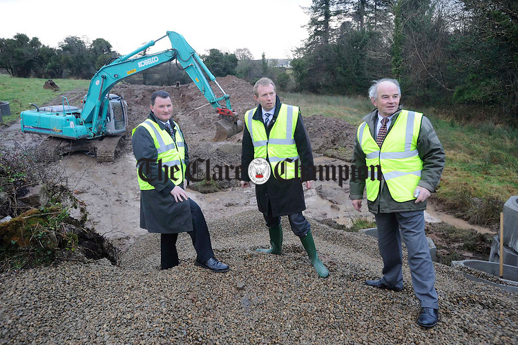 Councillor Pat Hayes, Timmy Dooley. TD, and Councillor Colm Wiley in Feakle to watch the start of work in the Scariff Tuamgraney, Feakle Quilty Mullagh sewerage schemes. Photograph by John Kelly.