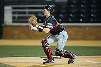 Davidson Wildcats catcher Eric Jones (6) waits for a throw at home plate during the game against the Wake Forest Demon Deacons at David F. Couch Ballpark on February 28, 2017 in Winston-Salem, North Carolina.  The Demon Deacons defeated the Wildcats 13-5.  (Brian Westerholt/Four Seam Images)