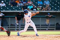 Tennessee Smokies designated hitter Nelson Maldonado (20) at bat against the Rocket City Trash Pandas at Smokies Stadium on July 2, 2021, in Kodak, Tennessee. (Danny Parker/Four Seam Images)