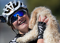 Ally Wollaston with her dog Frankie after the Under-19 Women's road race, Carterton-Martinborough-Gladstone circuit. Day three of the 2018 NZ Age Group Road Cycling Championships in Carterton, New Zealand on Sunday, 22 April 2018. Photo: Dave Lintott / lintottphoto.co.nz