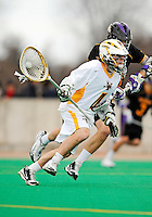 10 April 2011: University of Vermont Catamount goalkeeper David Barton, a Junior from Hanover, MA, in action against the University at Albany Great Danes on Moulton Winder Field in Burlington, Vermont. The Catamounts defeated the visiting Danes 11-6 in America East play. Mandatory Credit: Ed Wolfstein Photo