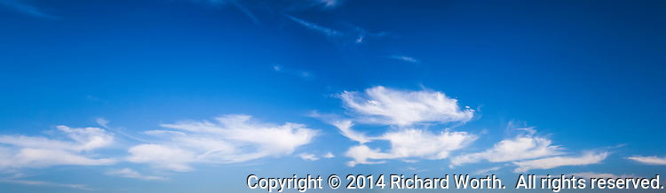 High clouds painted on a deep blue canvas of sky.  Cropped for graphic/web design.