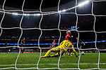 Goalkeeper Thibaut Courtois of Chelsea FC saves the shot by Antoine Griezmann of Atletico de Madrid during the UEFA Champions League 2017-18 match between Atletico de Madrid and Chelsea FC at the Wanda Metropolitano on 27 September 2017, in Madrid, Spain. Photo by Diego Gonzalez / Power Sport Images