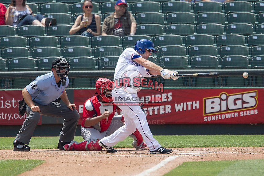 Round Rock Express outfielder Jared Hoying #30 swings the bat during the Pacific Coast League baseball game against the Memphis Redbirds on April 27, 2014 at the Dell Diamond in Round Rock, Texas. The Express defeated the Redbirds 6-2. (Andrew Woolley/Four Seam Images)